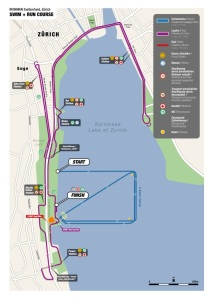 IM Zurich - Swim and run map